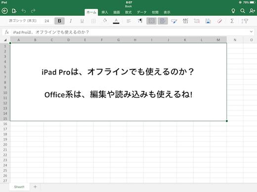 iPad Pro オフライン エクセル