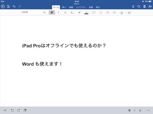 iPad Pro オフライン Word